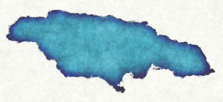 Jamaica map with drawn lines and blue watercolor illustration Stock Photo