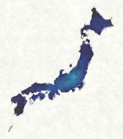 Japan map with drawn lines and blue watercolor illustration
