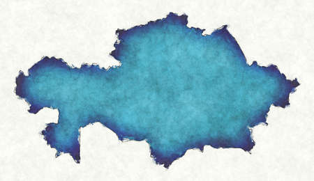 Kazakhstan map with drawn lines and blue watercolor illustration