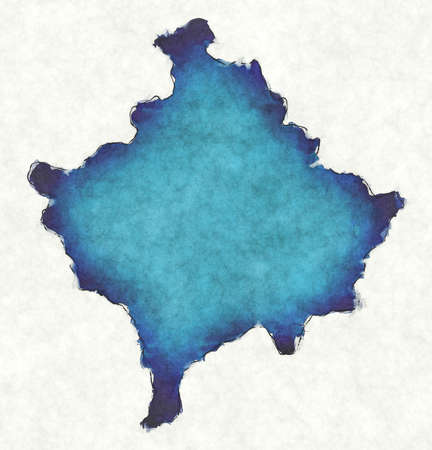 Kosovo map with drawn lines and blue watercolor illustration