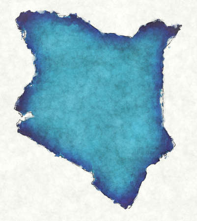 Kenya map with drawn lines and blue watercolor illustration