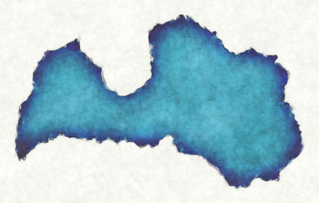 Latvia map with drawn lines and blue watercolor illustration