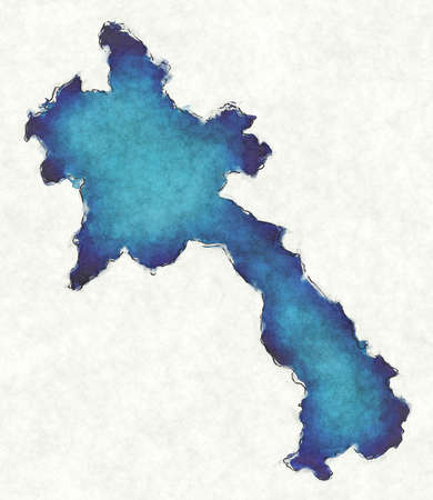 Laos map with drawn lines and blue watercolor illustration