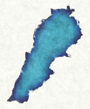 Lebanon map with drawn lines and blue watercolor illustration Archivio Fotografico