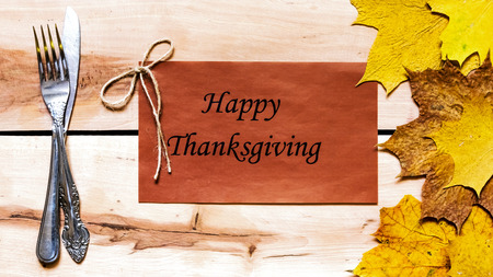 thanksgiving day greetings: Thanksgiving day.  Decoration for holiday celebration with autumn leaves Stock Photo