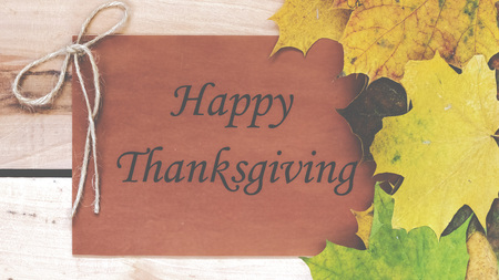 happy thanksgiving: Thanksgiving day.  Decoration for holiday celebration with autumn leaves Stock Photo