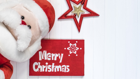 cristmas card: Merry Cristmas gift with Santa Claus. Merry Cristmas and happy new year card.