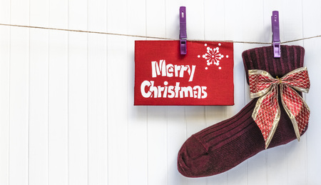 cristmas: Merry Cristmas sock. Merry Cristmas and happy new year card. Stock Photo