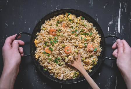 Fried rice with shrimp. Healthy asian food