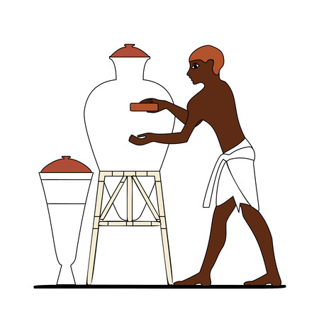 Ancient Egypt ceramist at work Illustration