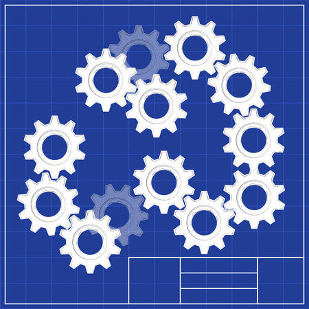 Blueprints. Mechanical engineering drawings of screw Illustration