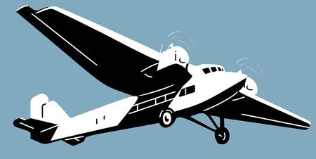 Retro aircscrew plane, aviation design illustration vector