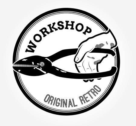 Vintage logo with scissors Vector illustration. Ilustracja