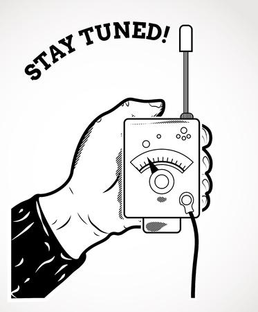 Vintage icon with walkie-talkie