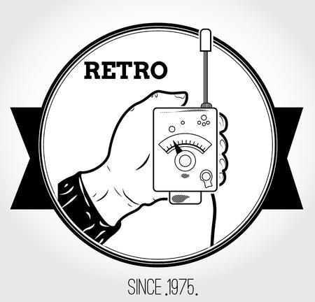 Vintage logo with walkie-talkie Vector illustration.