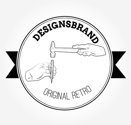 Vintage logo with hammer Vector illustration. Ilustracja