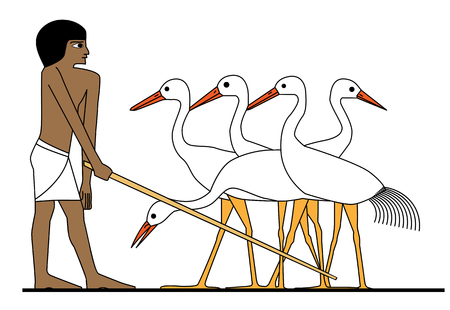Egypt man working at ciconia. Illustration