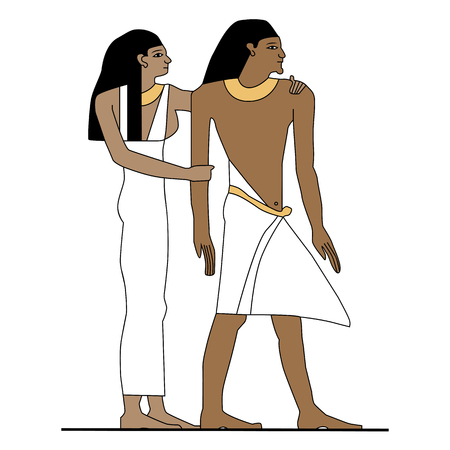 Ancient Egypt family. Illustration