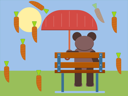 Cartoon brown bear isolated on plain blue background