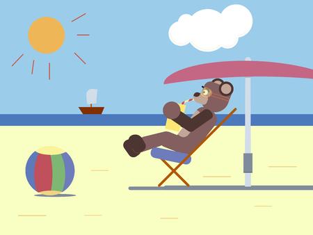 Cartoon brown at the beach Illustration