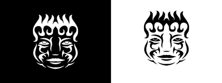 Tribal man portrait, Man portait in tribal style illustration in black and white