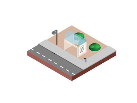 Bus stop in isometric projection necessary creative designers for web projects. Isometric bus stop isolated vector illustration. Vettoriali
