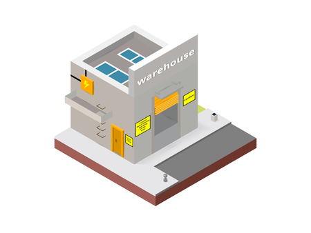 Warehouse building in isometric projection necessary creative designers for web projects. Isometric Warehouse building.