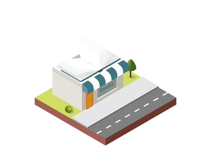 Bookshop building in isometric projection necessary creative designers for web projects. Isometric Bookshop building. Illustration