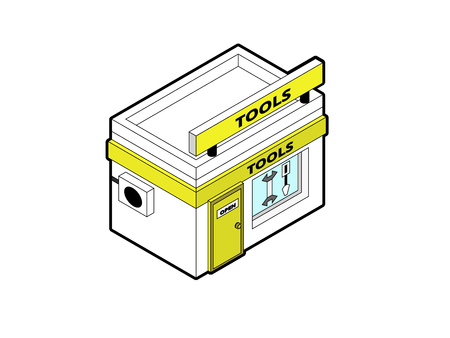 Toolshop building in isometric projection necessary creative designers for web projects. Isometric toolshop building. Ilustrace