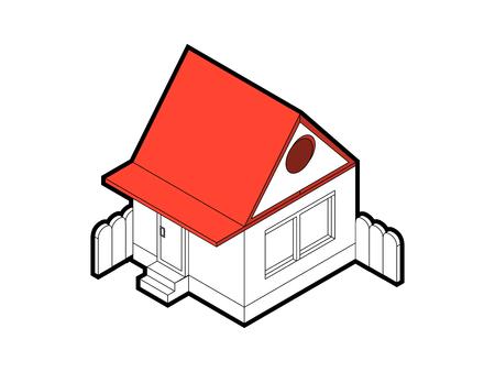 Isometric house on white background.