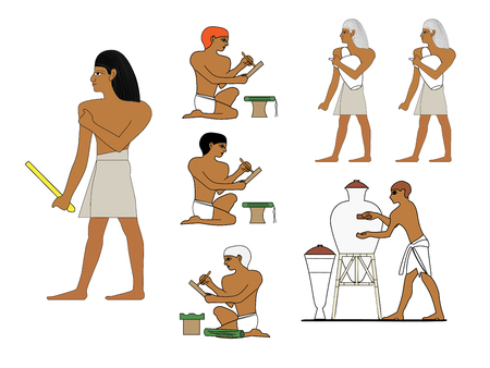 Ancient Egypt ceramists at work. Egyptian ceramics manufacturing.