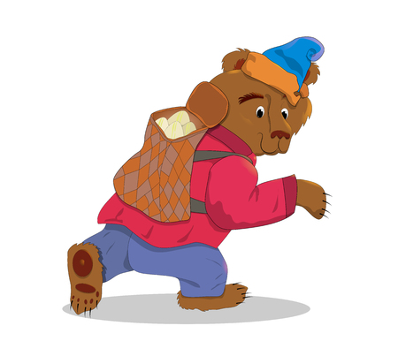 Bear with a box. Animal color illustration