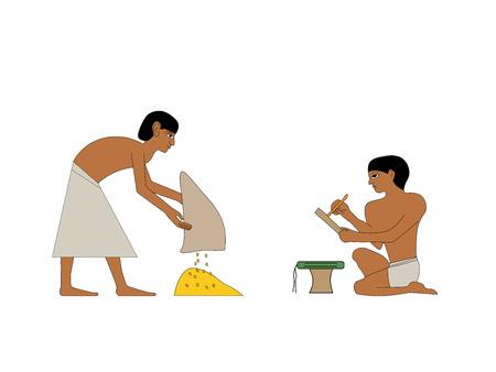 Ancient Egypt set of illustration, group of people. Egypt murals, Ancient Egypt people, people of the Nyle Ilustrace