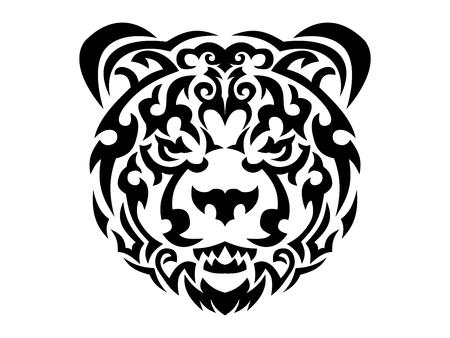 Tribal bear print, brown bear in tribal style, ornamental white line bear for t-shirt