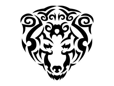 Tribal bear print, brown bear in tribal style, ornamental black line bear for t-shirt Ilustrace