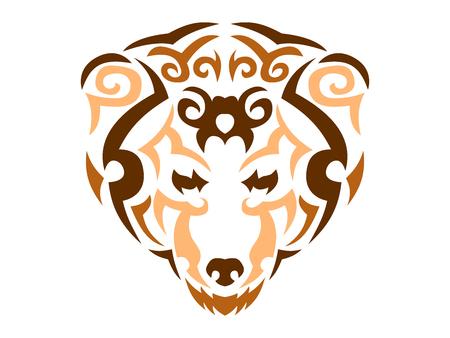Tribal bear color print, brown bear in tribal style, ornamental color bear for t-shirt