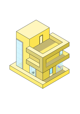 Isometric yellow modern house on white background. Isometric concept of residential home