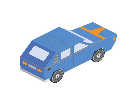 Isometric Sportcar or hatchback vehicle. Car on white background in isometric projection.