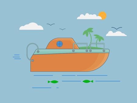 Flat boat on blue sea, Boat in flat style