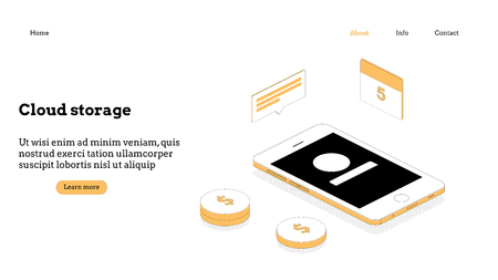 Cloud computing modern flat design isometric concept. Landing page template. Conceptual isometric vector illustration for web and graphic design.