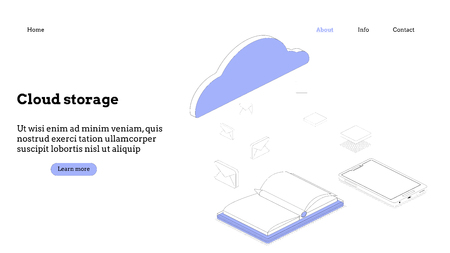 Landing page template. Cloud computing modern flat design isometric concept. Conceptual isometric vector illustration for web and graphic design. Ilustrace