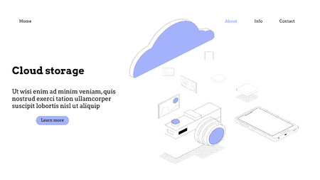 Landing page template. Cloud computing modern flat design isometric concept. Conceptual isometric vector illustration for web and graphic design. Reklamní fotografie