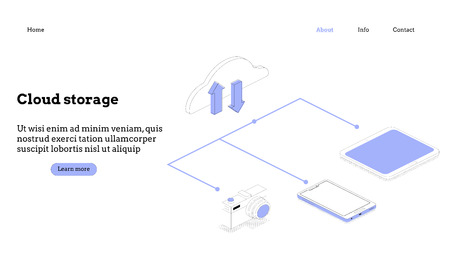 Modern flat design isometric concept of Cloud Technology  イラスト・ベクター素材