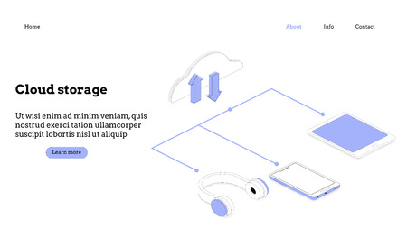 Modern flat design isometric concept of Cloud Technology Illustration