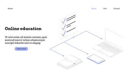 Modern flat design isometric concept of Programming Online course