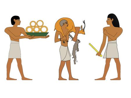 Antico Egitto set di illustrazioni, gruppo di commercianti, ricchi e hutsman murales egiziani, persone dell'antico Egitto, persone del Nyle