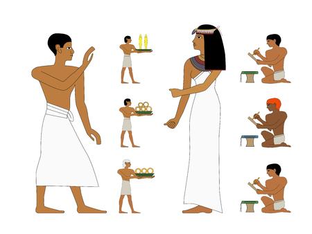 Antico Egitto set di illustrazione, nobildonna e commerciante. Murales egiziani, persone dell'antico Egitto, persone del Nyle