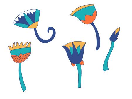 Egypt color cane branches set, ornamental element of Ancient Egypt