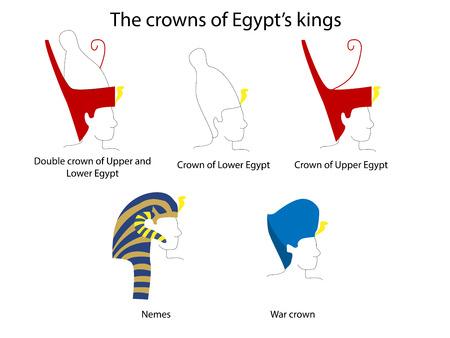 Ensemble de couronnes d'Egypte ancienne. Art de l'Egypte ancienne. Culture de l'Egypte ancienne