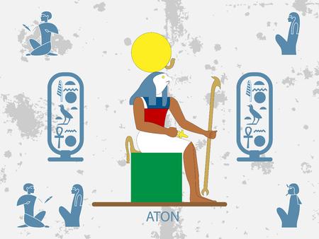 Ancient egypt backgrounds. Sun god - Aton. Sun God of Ancient Egypt.